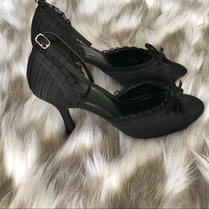 Delicious Black Ruffled Satin Ankle Strap Heels